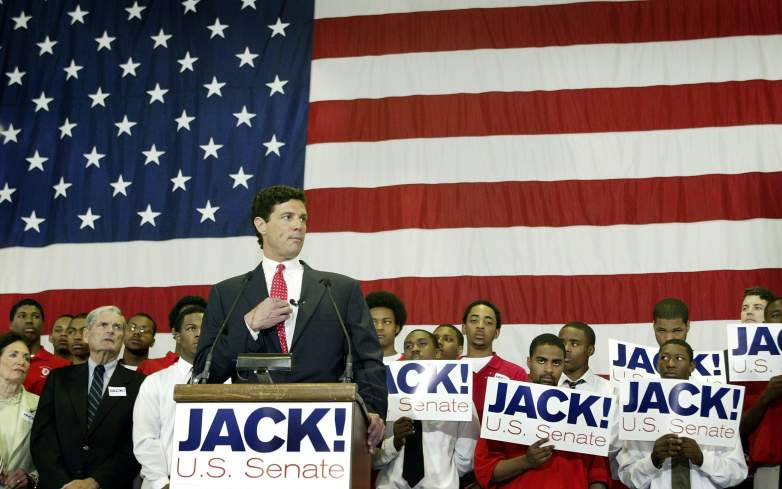 Jack Ryan announces his candidacy for the U.S. senate during a press conference at his former high school Hales Franciscan May 28, 2003 in Chicago, Illinois.