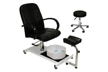 Black pedicure chair on wheels with stool