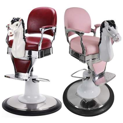 Horse salon chairs in red and pink