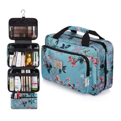 hanging toiletry bag with matching jewelry organizer