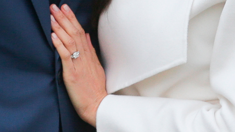 Meghan Markle debuts her engagement ring.