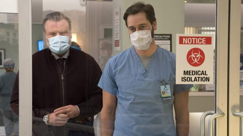 """NEW AMSTERDAM -- """"The New Normal"""" Episode 301 -- Pictured: (l-r) Tyler Labine as Dr. Iggy Frome, Ryan Eggold as Dr. Max Goodwin"""