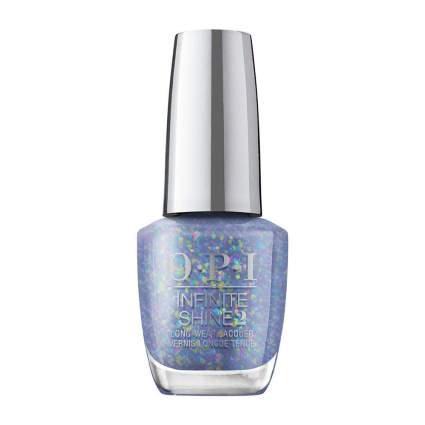 Blue OPI nail polish with cellophane flakies