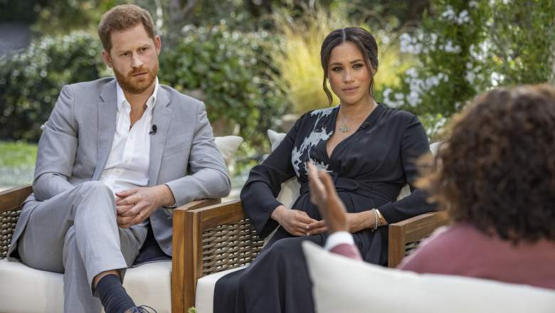 """Oprah with Meghan and Harry: A CBS Primetime Special"" - Pictured: Prince Harry and Meghan, The Duke and Duchess of Sussex with Oprah Winfrey."