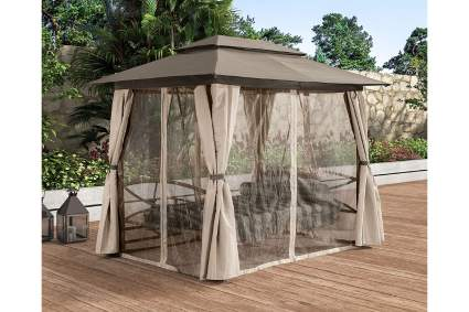 PURPLE LEAF Outdoor Daybed Swing Gazebo with Netting & Curtains