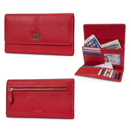 red leather RFID blocking wallet