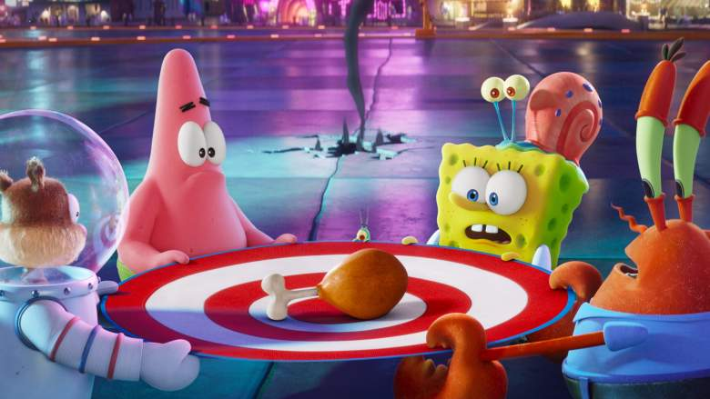 L-R: Sandy (voiced by Carolyn Lawrence), Patrick (voiced by Bill Fagerbakke), Plankton (voiced by Doug Lawrence), SpongeBob (voiced by Tom Kenny), Gary, and Mr. Krabs (voiced by Clancy Brown) appearing in the Paramount+ original film THE SPONGEBOB MOVIE: SPONGE ON THE RUN.