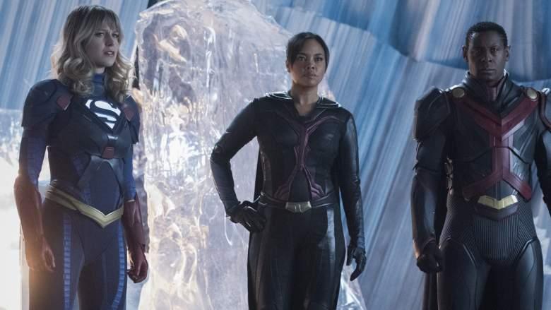 Melissa Benoist as Supergirl, Sharon Leal as M'gann M'orzz and David Harewood as Hank Henshaw/J'onn J'onzz