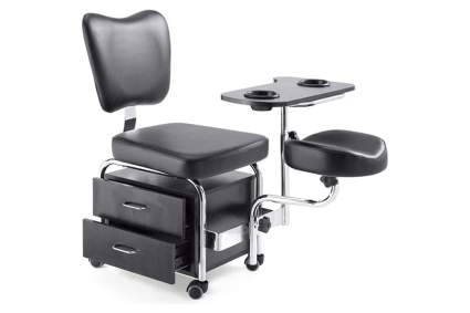 Black salon cart with chair, storage, and foot rest