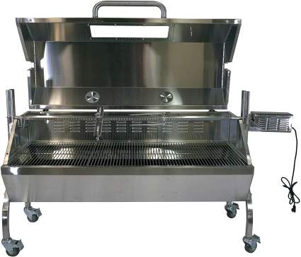 TITAN GREAT OUTDOORS Stainless Steel BBQ Rotisserie Glass Hood Grill