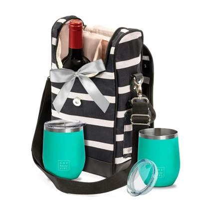 wine tote with tumblers