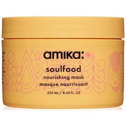 Yellow jar of Amika hair mask