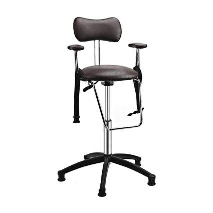 Black hydraulic stool with seatbelt strap
