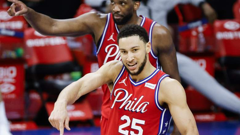 Ben Simmons points down