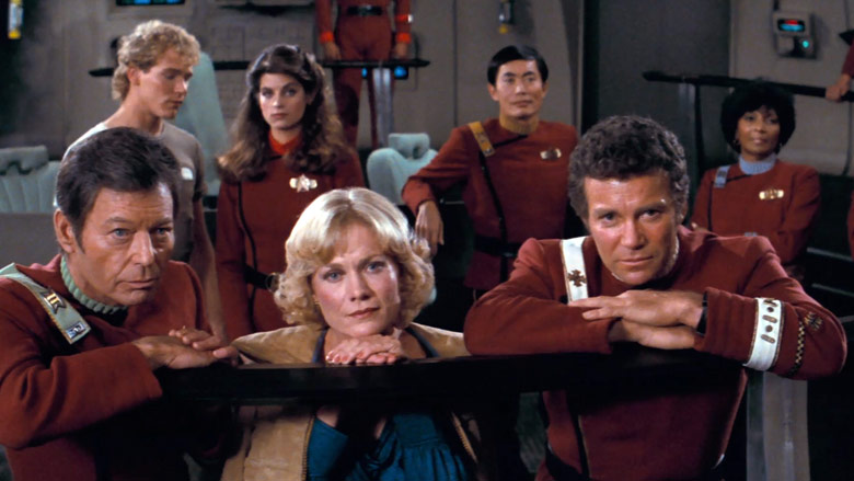 Kirk and crew gathered on the bridge at the end of Star Trek II.