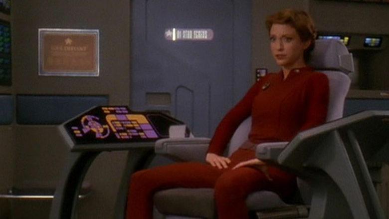 Major Kira (Nana Visitor) aboard the Defiant.