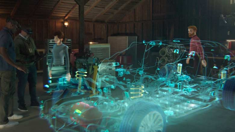 Many people collaborating through Microsoft Mesh holograms.
