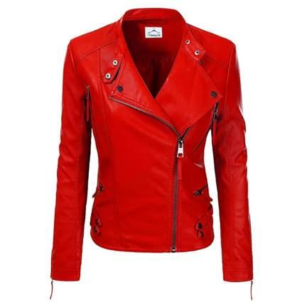 red lambskin moto jacket