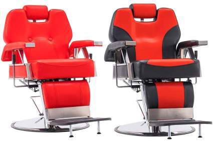 Two red salon chairs