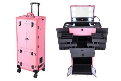 Pink and black rolling makeup artist studio