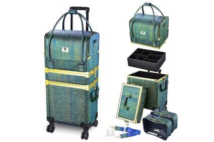 Green-blue rolling makeup train case