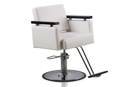 White barber chair with square back and black armrests