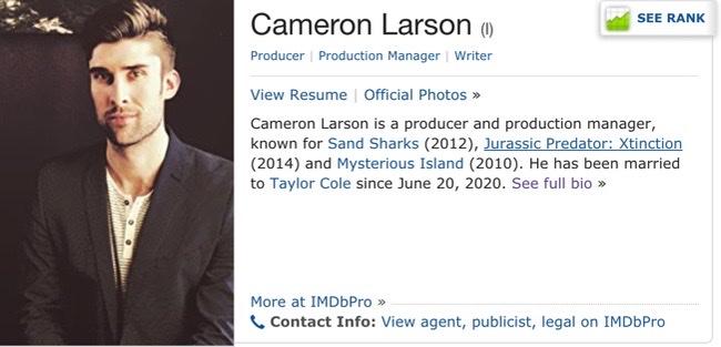 Taylor Cole's Husband Cameron Larson