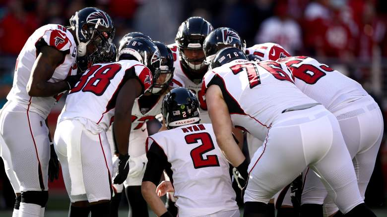 Atlanta Falcons offensive huddle