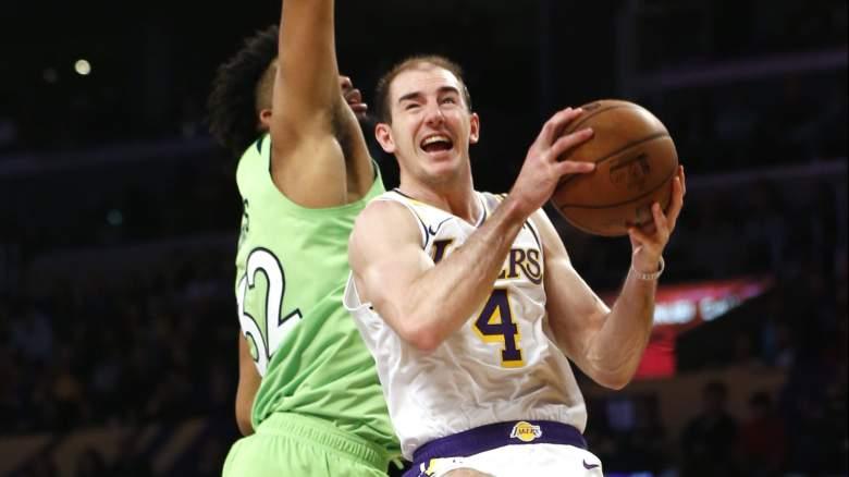 Alex Caruso, right, of the Lakers