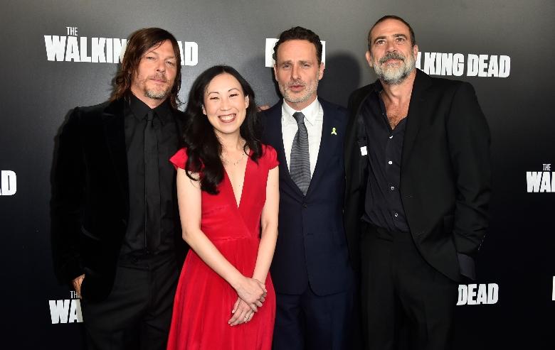 "Norman Reedus, Angela Kang, Andrew Lincoln, Jeffery Dean Morgan attend the Premiere of AMC's ""The Walking Dead"" Season 9"