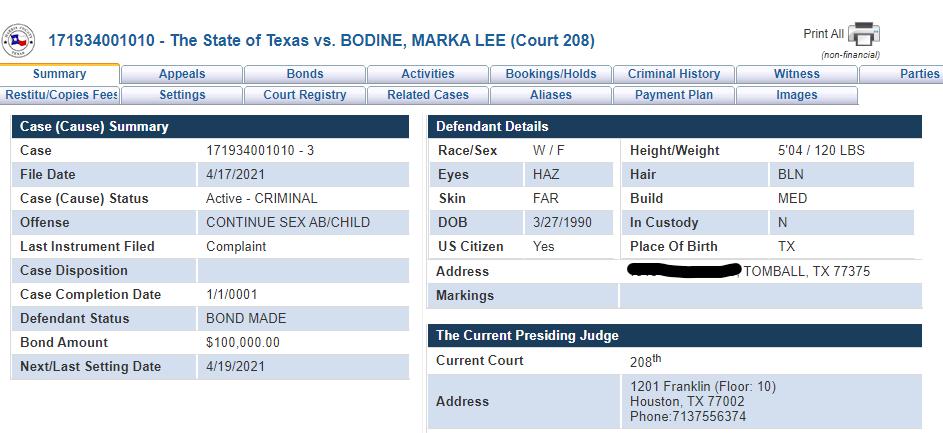 marka bodine texas teacher