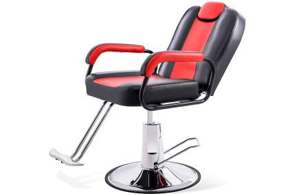 Red reclining salon chair