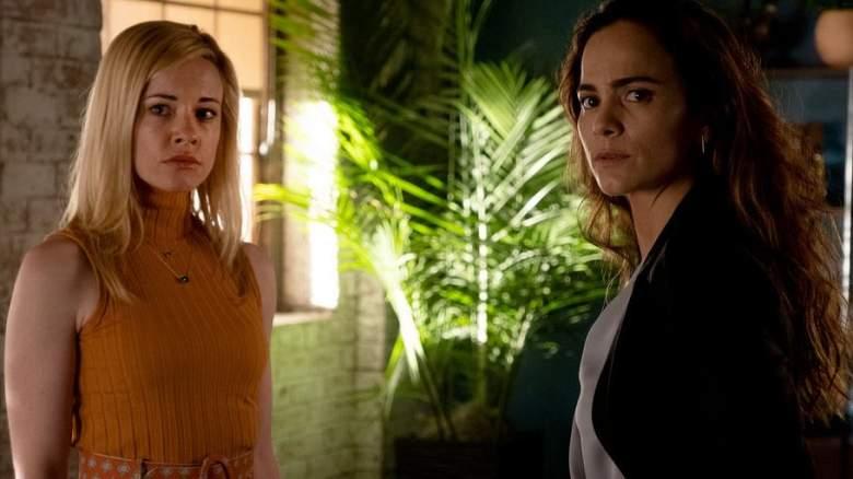 """Fantasmas"" Episode 501 -- Pictured: (l-r) Molly Burnett as Kelly Anne Van Awken, Alice Braga as Teresa Mendoza"