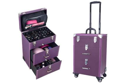Purple wheel train case for nail polish