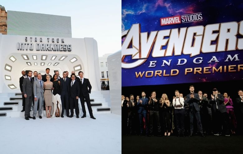 """The cast of """"Star Trek: Into Darkness"""" at the premiere and the cast of Marvel's """"Avengers: Endgame"""" at the world premiere"""