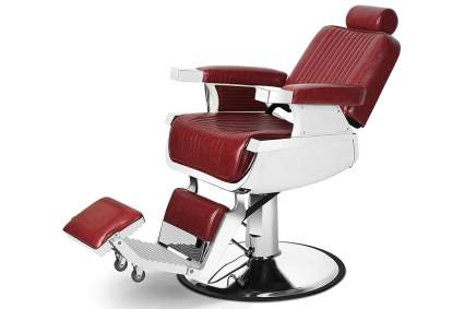 Red reclining barber chair