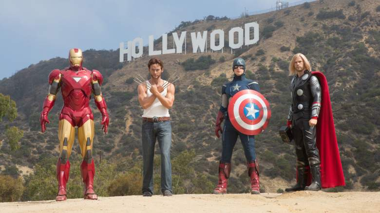 Marvel Super Heroes Pose With Hollywood Sign