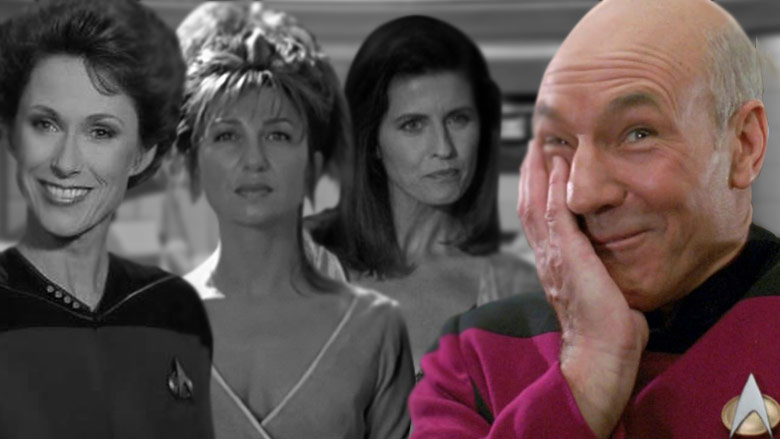 Louvois, Anij, and Vash all vied for Picard's attention.