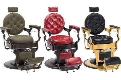Antique style barber chairs in green, red, and black