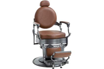 Brown rounded back barber chair