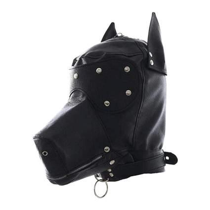 Black leather full face mask shaped like a dog's head