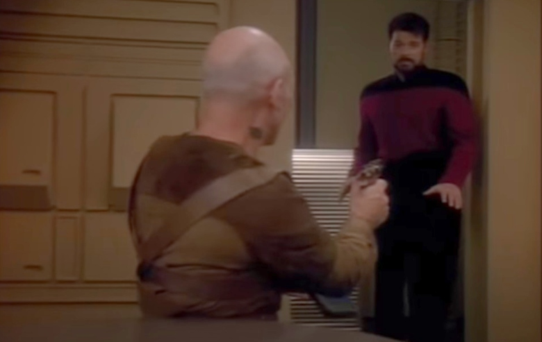 """Patrick Stewart as Jean-Luc Picard and Jonathan Frakes as Commander Riker in """"Star Trek: The Next Generation"""""""