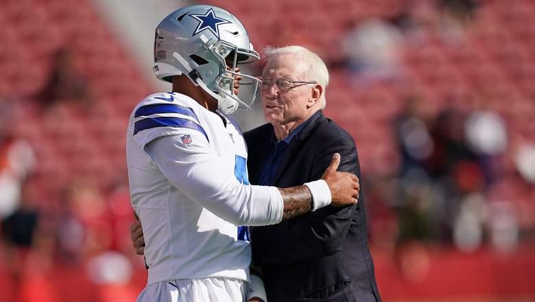 Cowboys QB Dak Prescott with owner Jerry Jones
