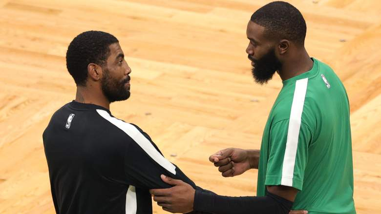 Kyrie Irving left) and Jaylen Brown of the Celtics