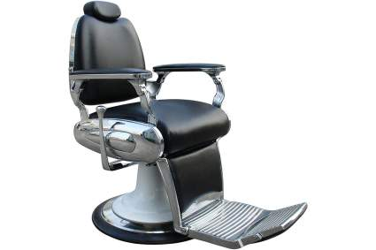 Black barbershop chair with lots of shiny chrome