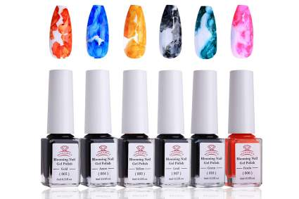 colorful marbled nail polish with bottles