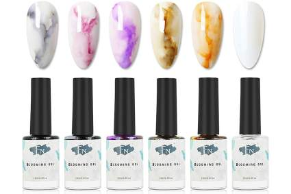 Earthtone blooming ink swatches with bottles