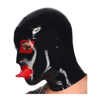 Black latex full head mask with red latex tongue