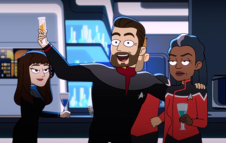 Marina Sirtis as Commander Deanna Troi, Jonathan Frakes as Captain William T. Riker and Dawnn Lewis as Captain Freeman of the CBS All Access series STAR TREK: LOWER DECKS