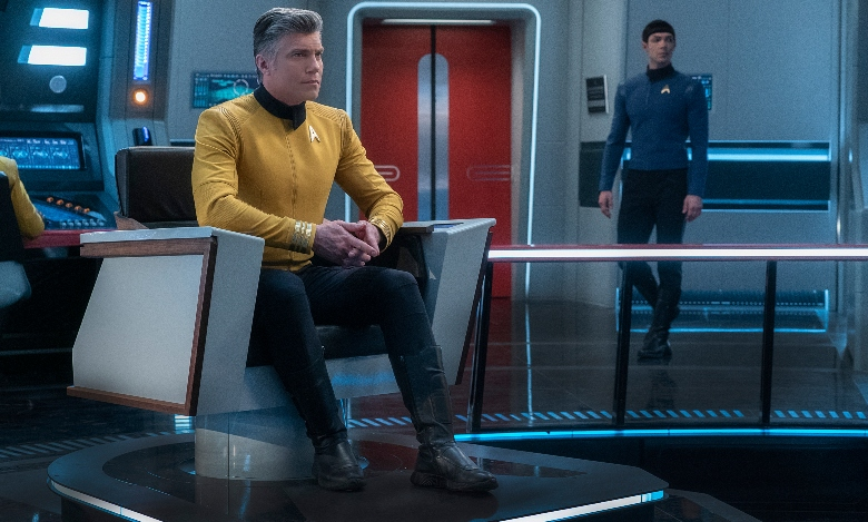 Anson Mount as Captain Pike; Ethan Peck as Spock; of the the CBS All Access series STAR TREK: SHORT TREKS.